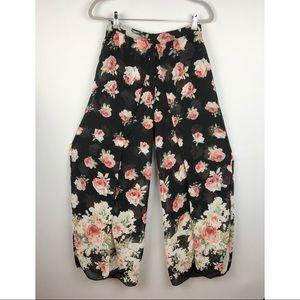 Cotton Candy Floral Sheer M-split Pants M